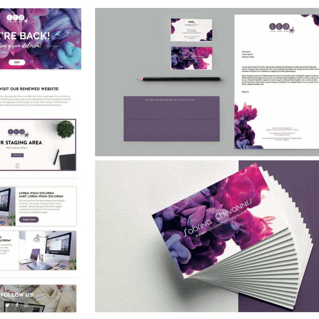 Brand Collateral for London Creative Designs - Company Branding Agency