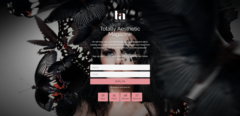 Coming Soon Page for Totally Aesthetic Magazine designed by London Creative Designs