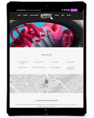 Keep Fit Bootcamp Responsive Website Design (iPad) by London Creative Designs - London Website Design Company