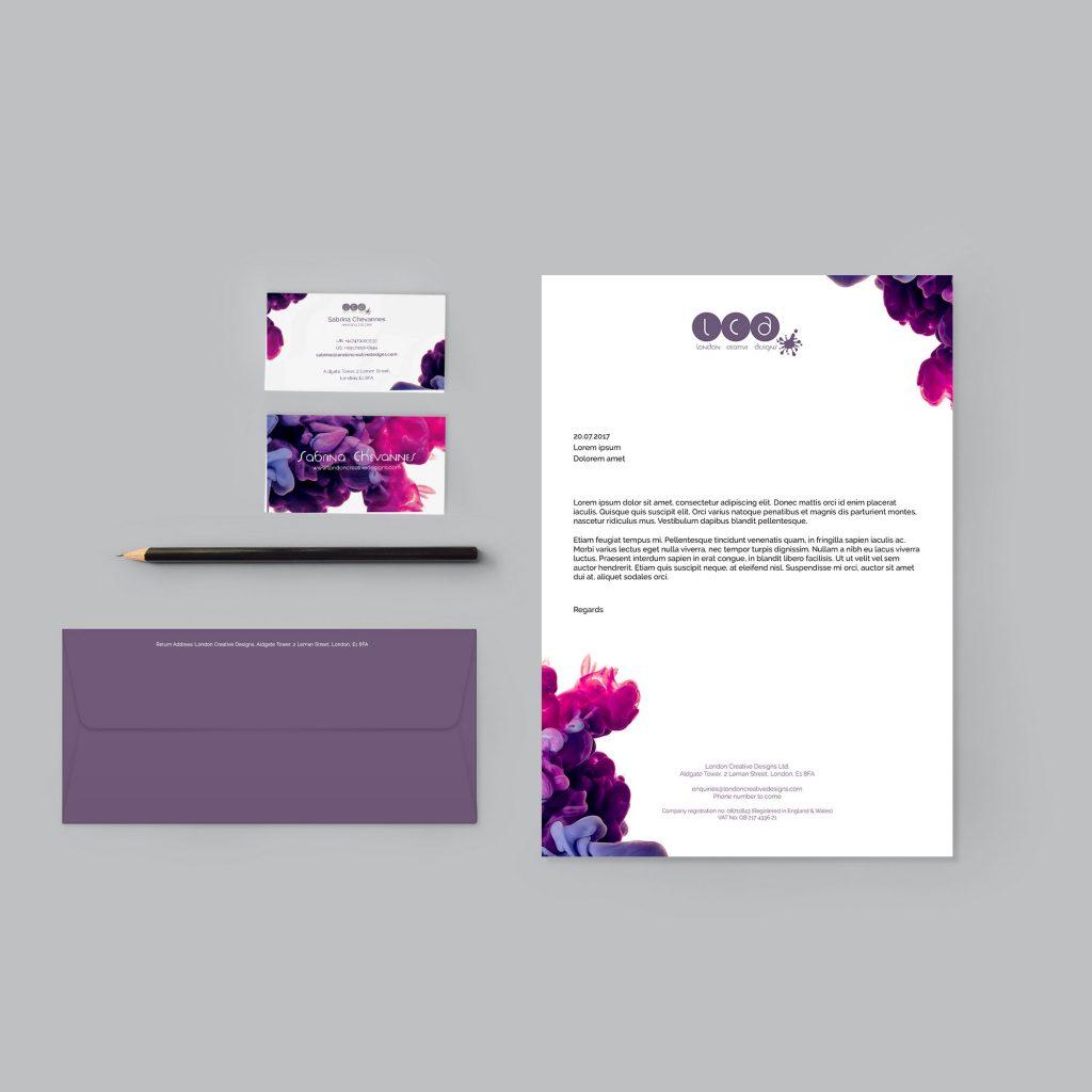Business card design, letterhead design, envelope design for London Creative Designs