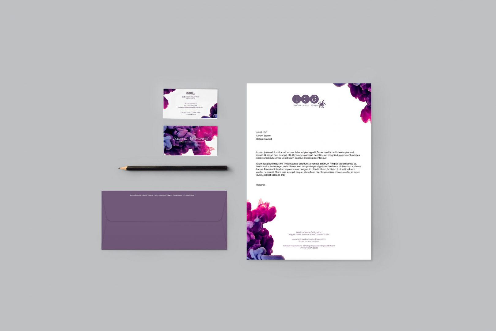 Business card design, letterhead design, envelope design for London Creative Designs