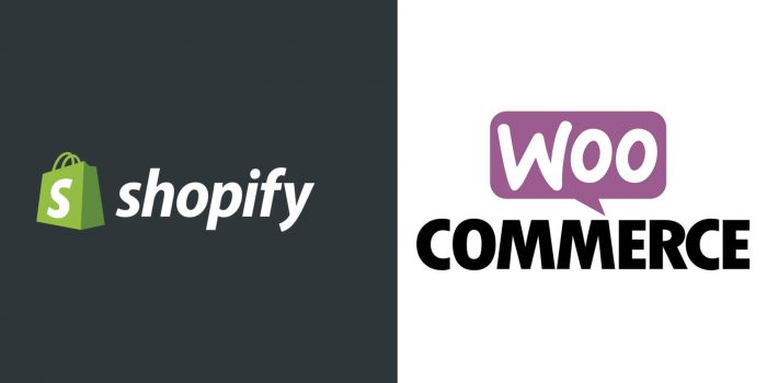Shopify Logo and WooCommerce Logo. Shopify v WooCommerce by London Creative Designs