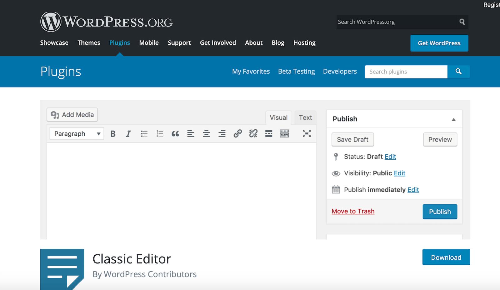Classic Editor Plugin - Avoid Gutenberg Editor