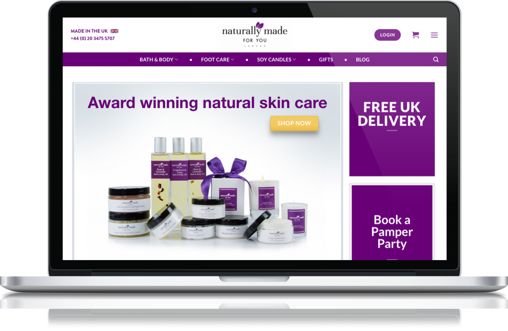 Naturally Made for you ecommerce website design by London Creative Designs, digital agency London